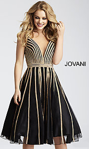 Knee-Length Jovani Bead Striped Homecoming Dress