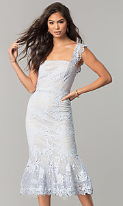 Image of sky blue lace wedding-guest dress with nude lining. Style: JTM-JMD7865 Front Image
