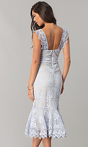 Image of sky blue lace wedding-guest dress with nude lining. Style: JTM-JMD7865 Back Image