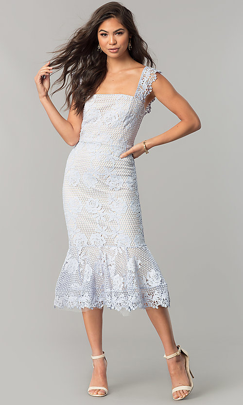 Image of sky blue lace wedding-guest dress with nude lining. Style: JTM-JMD7865 Detail Image 1