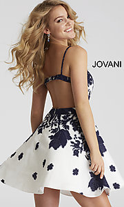Image of short a-line Jovani floral-print v-neck party dress. Style: JO-53204 Back Image
