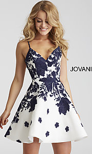 Short Open Back Jovani Floral Print V-Neck Homecoming Dress