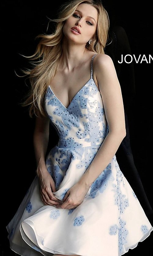 Image of short a-line Jovani floral-print v-neck party dress. Style: JO-53204 Detail Image 3