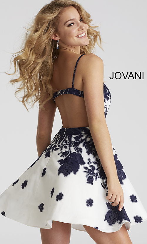 31ea4e4311 Image of short a-line Jovani floral-print v-neck party dress.