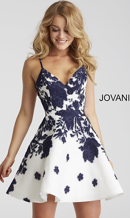 Image of short a-line Jovani floral-print v-neck party dress. Style: JO-53204 Front Image