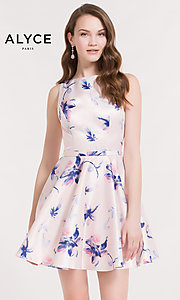 Pink Print Fit-and-Flare Homecoming Dress