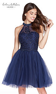 Embroidered Fit-and-Flare Homecoming Dress
