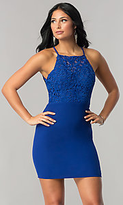 Short Lace-Bodice Bodycon Royal Blue Party Dress