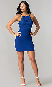 Image of short lace-bodice bodycon royal blue party dress. Style: DMO-J316067 Detail Image 1