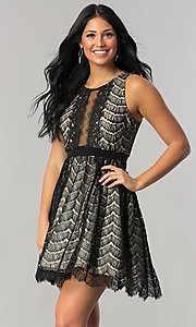 Image of junior-size black lace short party dress. Style: DMO-J316847 Front Image