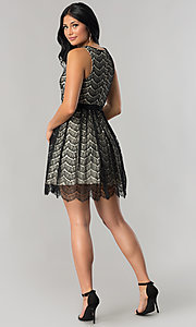 Image of junior-size black lace short party dress. Style: DMO-J316847 Detail Image 2