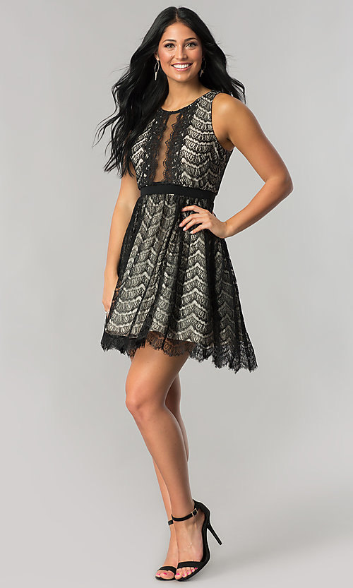Image of junior-size black lace short party dress. Style: DMO-J316847 Detail Image 1