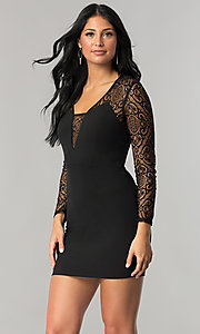 Short Black Mini Party Dress with Sheer Lace Sleeves