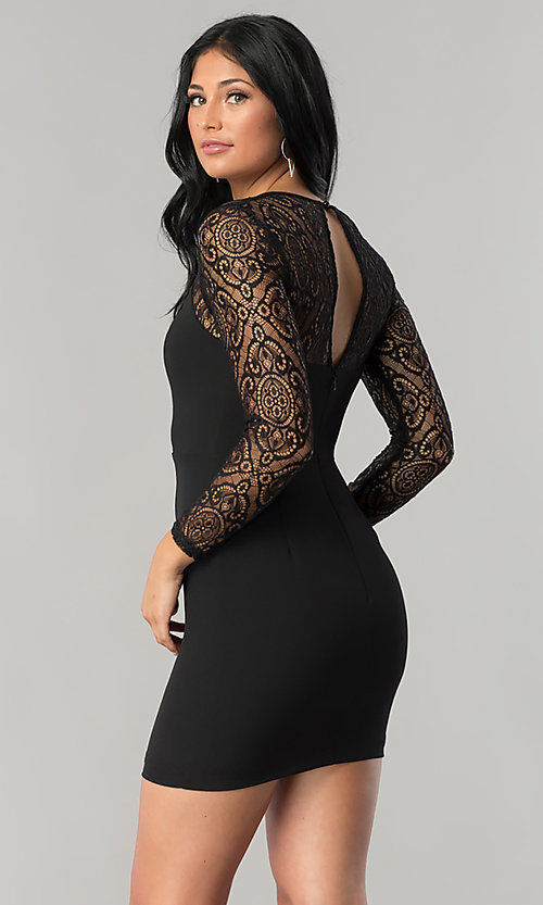 Image of short black mini party dress with sheer lace sleeves. Style: DMO-J315356 Back Image