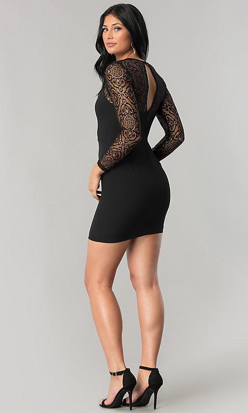 Image of short black mini party dress with sheer lace sleeves. Style: DMO-J315356 Detail Image 2