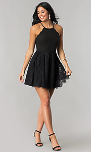 Image of short junior-size black party dress with lace skirt. Style: DMO-J316967 Detail Image 1