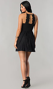 Image of short junior-size black party dress with lace skirt. Style: DMO-J316967 Detail Image 2