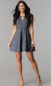 Image of short gray a-line glitter waffle-knit party dress. Style: DMO-J318917 Detail Image 2