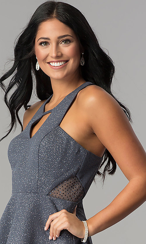 Image of short gray a-line glitter waffle-knit party dress. Style: DMO-J318917 Detail Image 1