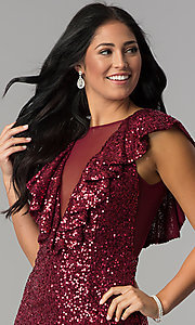 Image of short red sequin holiday party dress with ruffles. Style: DMO-J318587 Detail Image 1