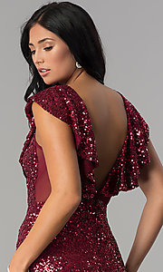 Image of short red sequin holiday party dress with ruffles. Style: DMO-J318587 Detail Image 2