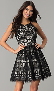 Short Black/Nude Lace Wedding-Guest Party Dress