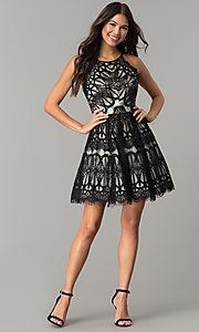 Image of short black/nude lace wedding-guest party dress. Style: DMO-J319277 Detail Image 2