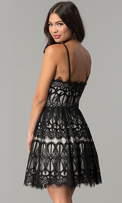Image of short black/nude lace wedding-guest party dress. Style: DMO-J319277 Back Image