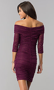 Image of off-shoulder short ruched plum purple party dress. Style: MD-D15472CIG Back Image