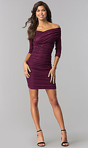 Image of off-shoulder short ruched plum purple party dress. Style: MD-D15472CIG Detail Image 1