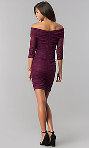 Image of off-shoulder short ruched plum purple party dress. Style: MD-D15472CIG Detail Image 2