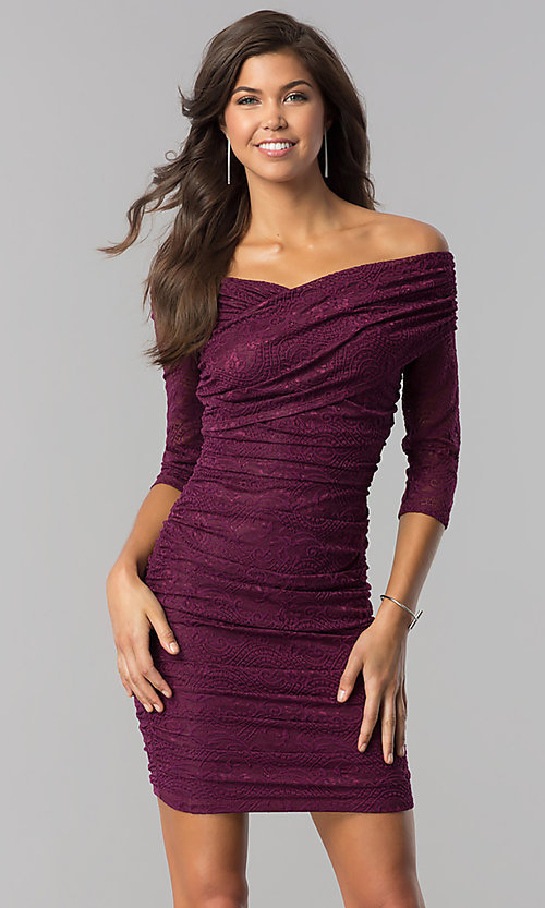 Image of off-shoulder short ruched plum purple party dress. Style: MD-D15472CIG Front Image