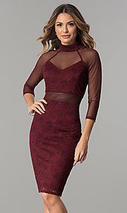 Burgundy Red Knee-Length Holiday Party Dress