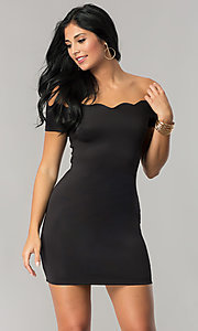 Off-the-Shoulder Short Black Party Dress with Sleeves