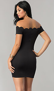 Image of off-the-shoulder short black party dress with sleeves. Style: JU-10138 Back Image
