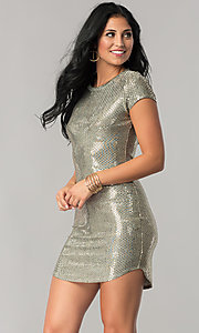 Sleeved Sequin Party Dress with Short Shirt-Tail Hem