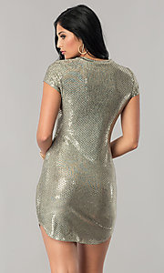 Image of sleeved sequin party dress with short shirt-tail hem. Style: JU-10240 Back Image