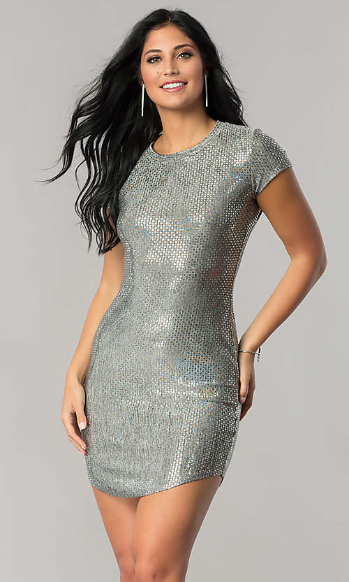 Image of sleeved sequin party dress with short shirt-tail hem. Style: JU-10240 Detail Image 2