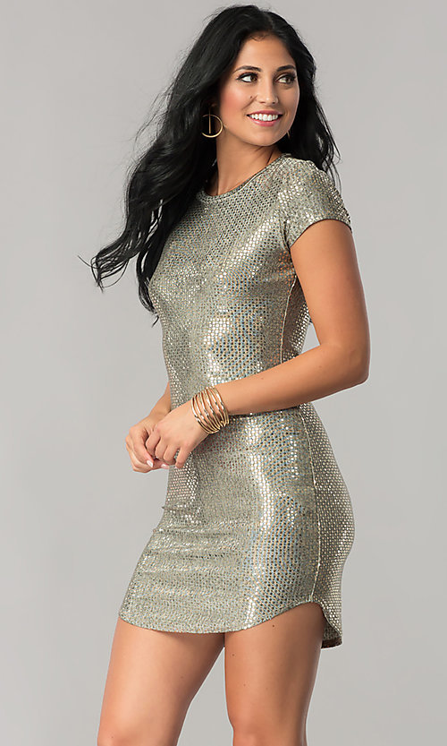 Image of sleeved sequin party dress with short shirt-tail hem. Style: JU-10240 Front Image