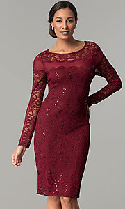 Short Long-Sleeve Lace Wedding-Guest Party Dress