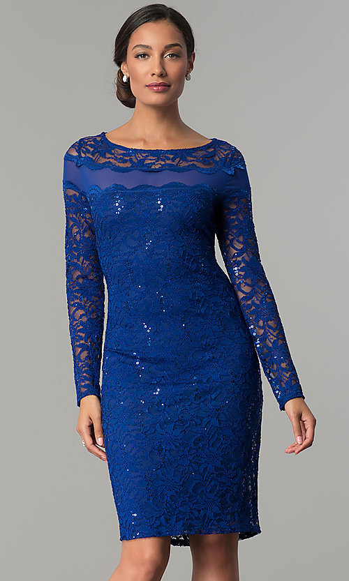 Image of short long-sleeve lace wedding-guest party dress. Style: JU-MA-263824 Detail Image 2