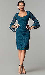 Image of sleeved knee-length lace wedding-guest party dress. Style: JU-MA-264006 Detail Image 2