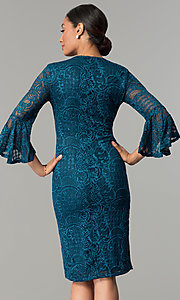 Image of sleeved knee-length lace wedding-guest party dress. Style: JU-MA-264006 Back Image