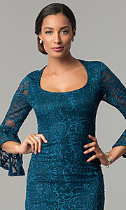 Image of sleeved knee-length lace wedding-guest party dress. Style: JU-MA-264006 Detail Image 1