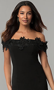 Image of off-the-shoulder black short wedding-guest dress. Style: JU-MA-263931 Detail Image 1