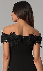 Image of off-the-shoulder black short wedding-guest dress. Style: JU-MA-263931 Detail Image 2