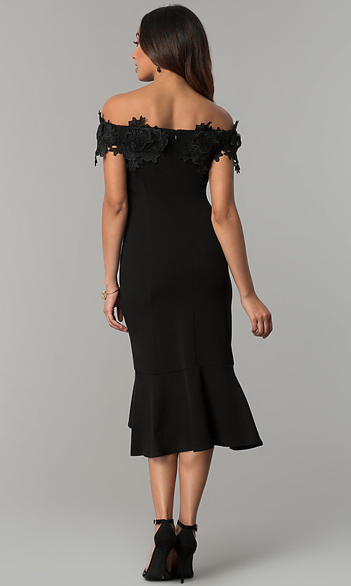 Image of off-the-shoulder black short wedding-guest dress. Style: JU-MA-263931 Back Image