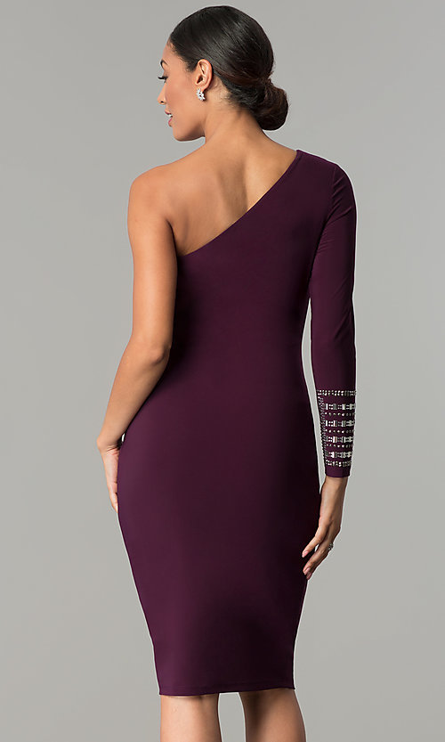 Image of designer eggplant purple one-shoulder party dress. Style: JU-MA-263972 Back Image