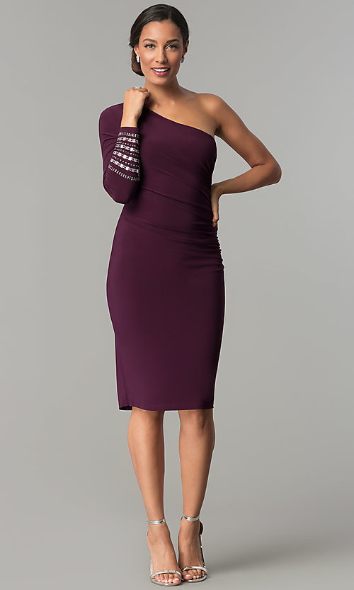 Image of designer eggplant purple one-shoulder party dress. Style: JU-MA-263972 Detail Image 3