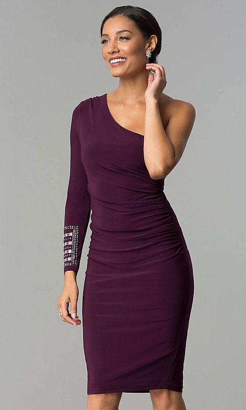 Image of designer eggplant purple one-shoulder party dress. Style: JU-MA-263972 Detail Image 1